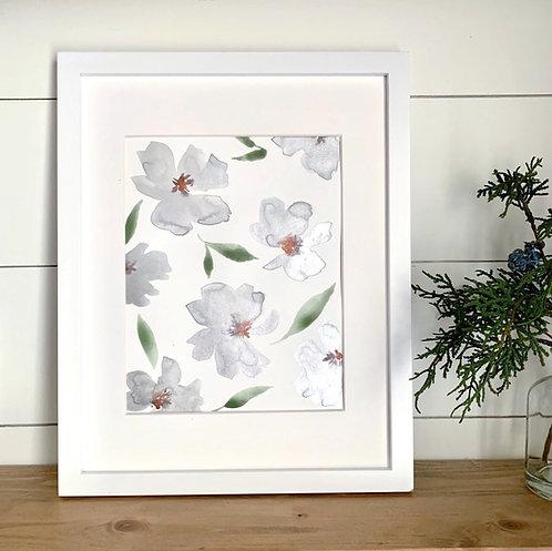 """Silver/Gray Florals + Mat (8x10"""")"""