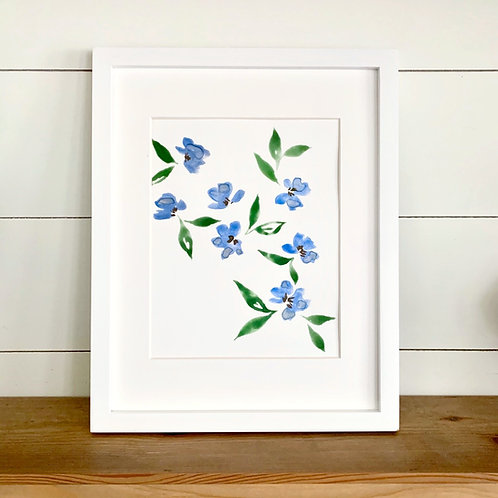 """Small Blue Florals + Mat (8x10"""")"""