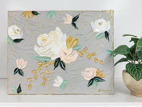 "11x14"" Spring Florals - Gray/Blush/Gold"