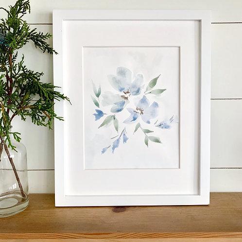 """Subtle Blue Floral - Mat (8x10"""")"""