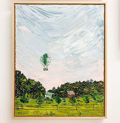 """16x20"""" 1859 Iconic Balloon Voyage - Green Ver.1 (Framed)"""