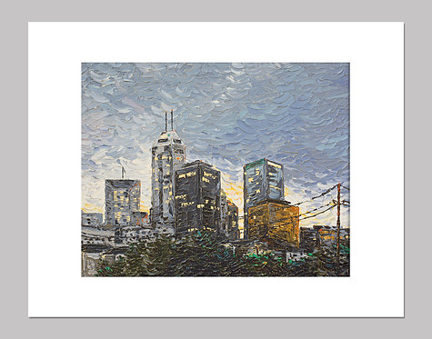 """Indianapolis at Sunset"" - Print+Mat"