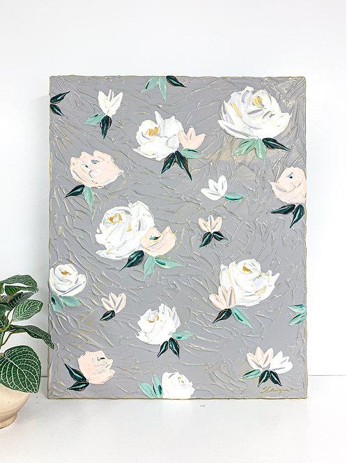 "16x20"" Spring Florals - Gray/Blush"