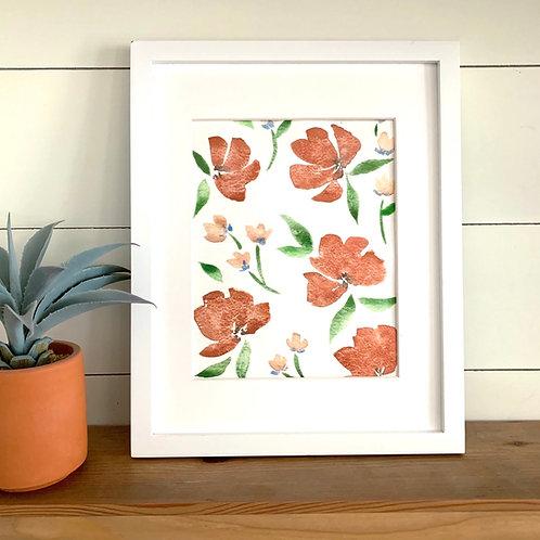 "8 x 10"" Warm Spring Florals + Mat"