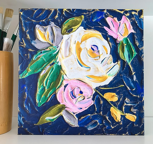 "12 x 12"" Canvas Wrap - Navy Florals"