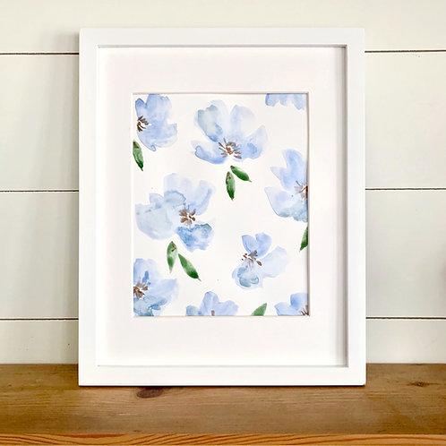 """Blue Spring Florals + Mat (8x10"""")"""