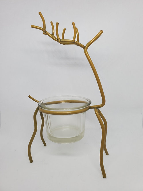 Gold Reindeer Candle