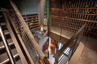 Inside the wine tower designed by Thomas Warner.