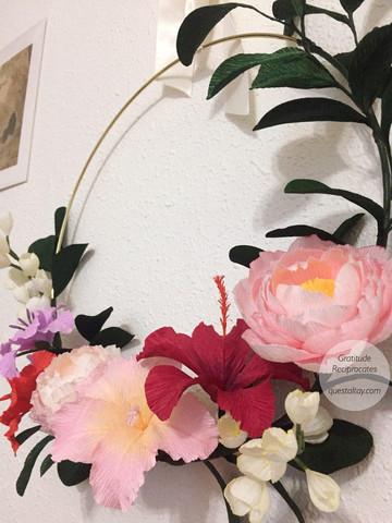 Gladiolus, Peony, Hisbisus, white Dutch Crocus and leaves, $160