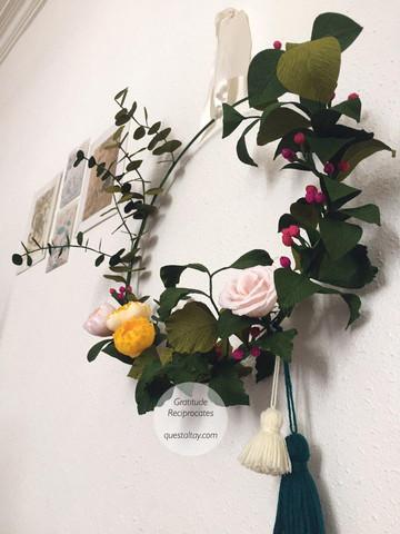 Peony, rose, berries, eucalptus, other foligage with tassels $128