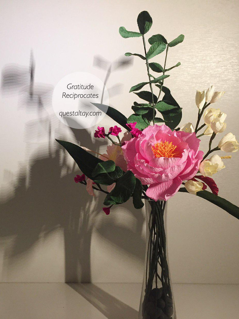 Peony, Hibsicuses, white Dutch Crocuses, Fuchsia flowers, Eucalyptuses and leaves $90