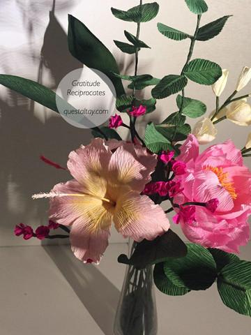 Peony, Hibsicuses, white Dutch Crocuses, Fuchsia flowers, Eucalyptuses and leaves $90