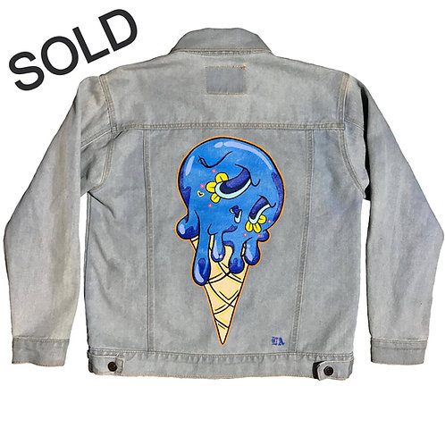 Hand painted | Blue Sugar Skull Ice cream jacket