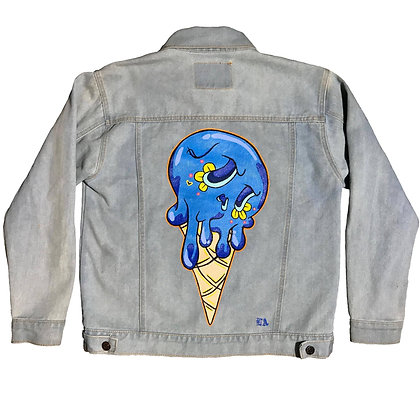 Blue Sugar skull Ice Cream denim jacket