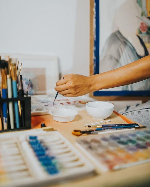 LA painting in studio