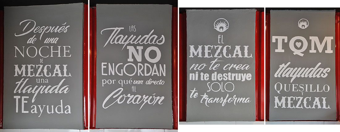 Handbemalte Letterings in Restaurant