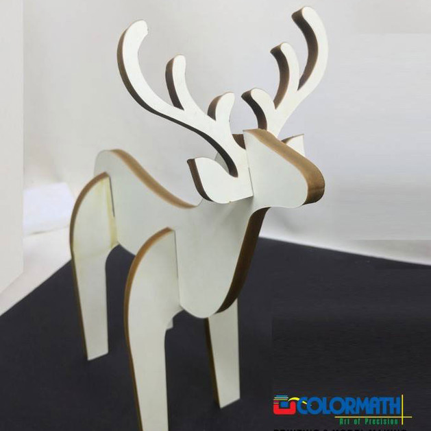 Laser cut foam board deer