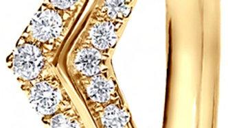 Yellow Gold Wishbone Mini Claw Set Diamond Band