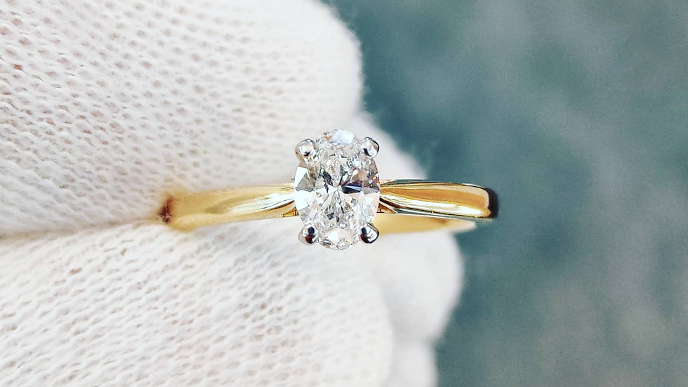 0.52ct Solitaire Oval Diamond Ring