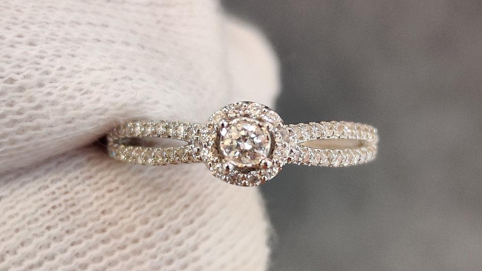 White Gold & Diamond Halo Ring