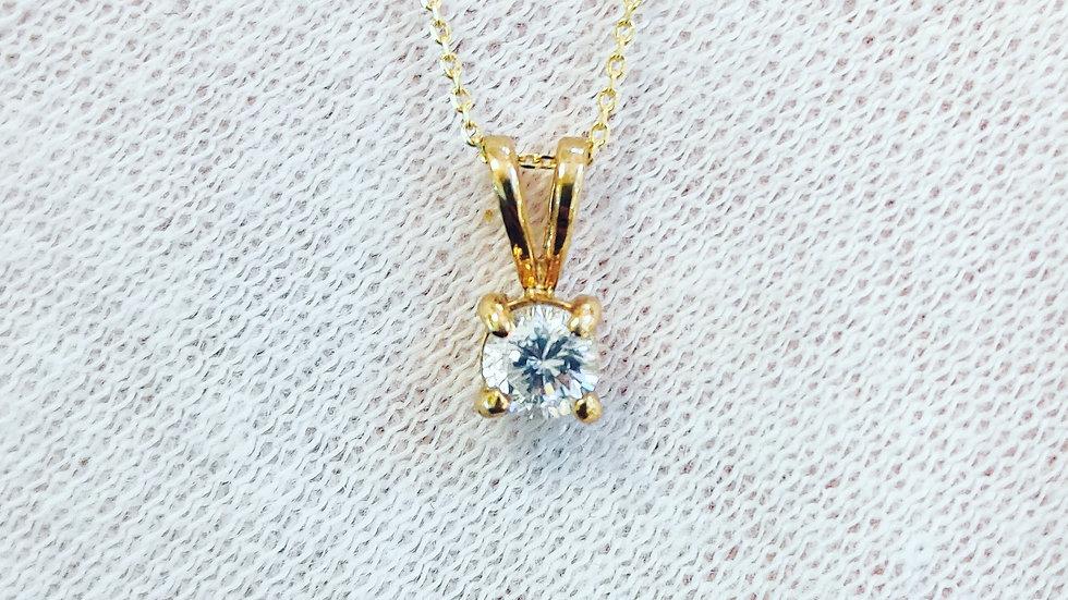 Gold Solitaire CZ Necklace