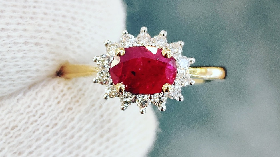 Yellow Gold Ruby & Diamond Cluster Ring