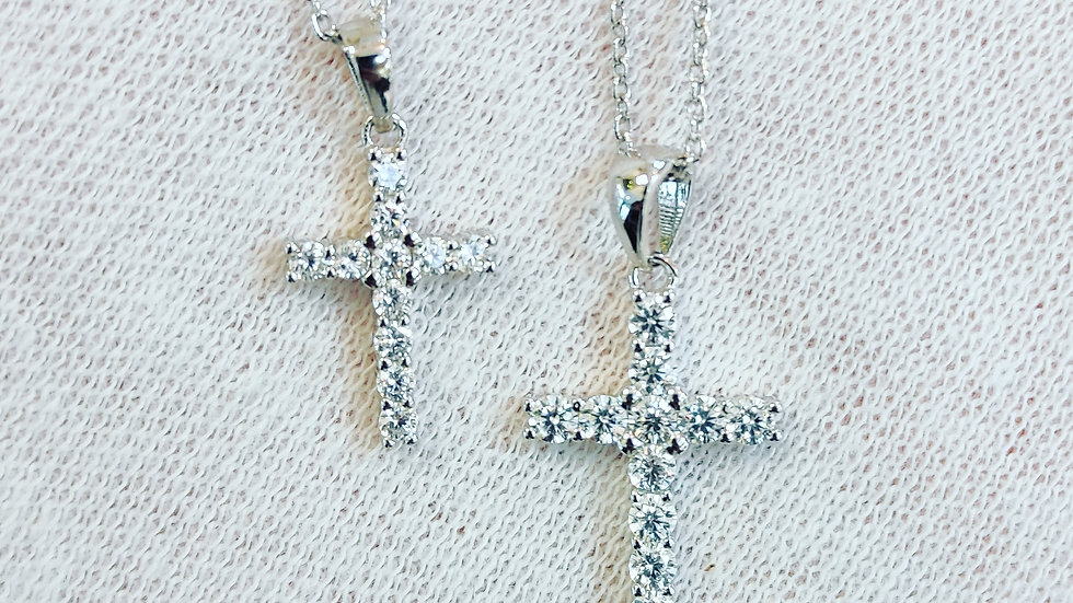 Sterling Silver Stone Set Cross
