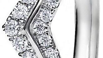 White Gold Wishbone Mini Claw Set Diamond Band