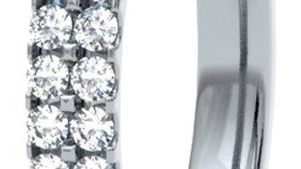 White Gold Double Row Scallop Set Diamond Band