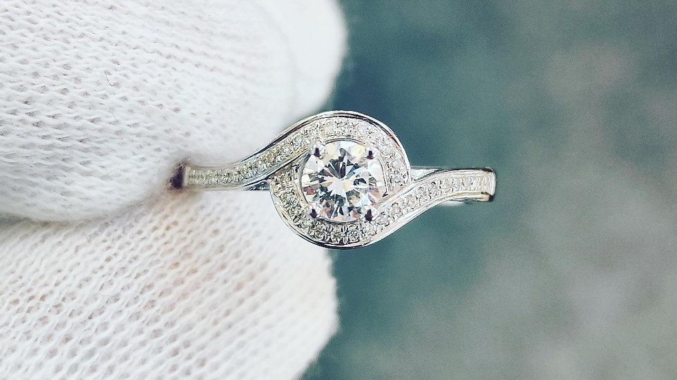 White Gold & Diamond Twist Halo Ring