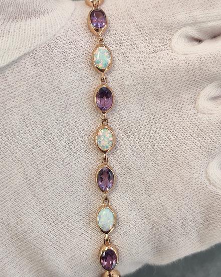 Rose Gold Amethyst & Opal Bracelet