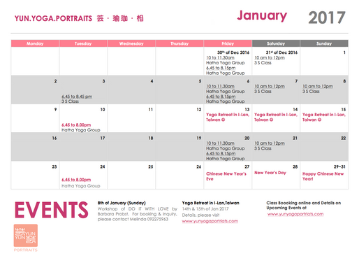 January Schedule 2017