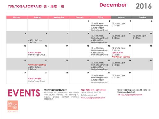 December Class Schedule