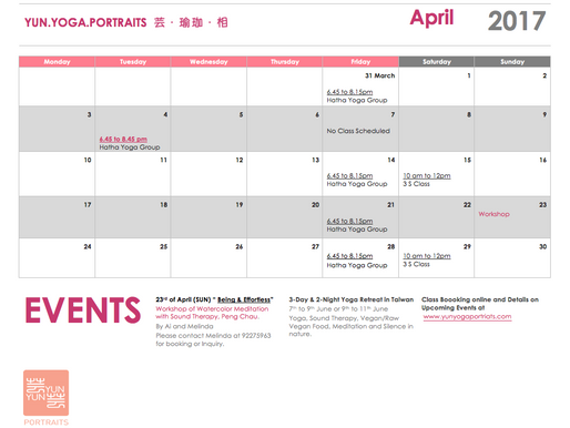April Schedule 四月份課表