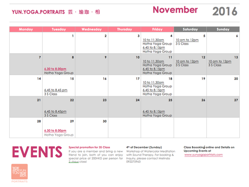 Haha Yoga Group Class- November Schedule & Promotion