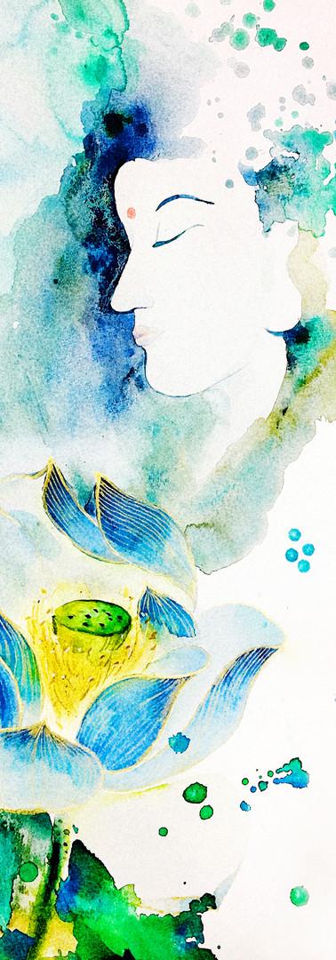 你,有如蓮花般出污泥而不染,如此純淨,永遠盛開。  You are like the lotus that stays untouched above the muddy waters, ever pure, ever blossoming.   原作(水彩)已結緣。 Original(Watercolour) is sold for Good Cause.
