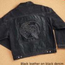 Embossed Black Denim and Leather Jacket