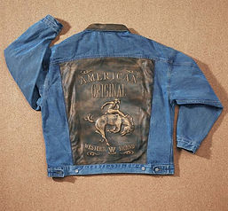 Embossed Denim and Leather Jacket W61.jp