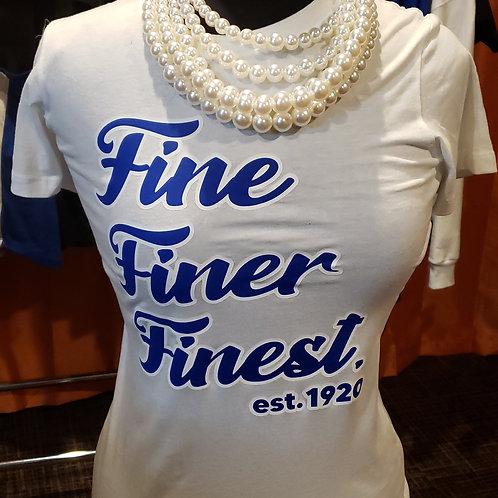 Zeta Fine Finer Finest est.1920  RB & W on White Tee