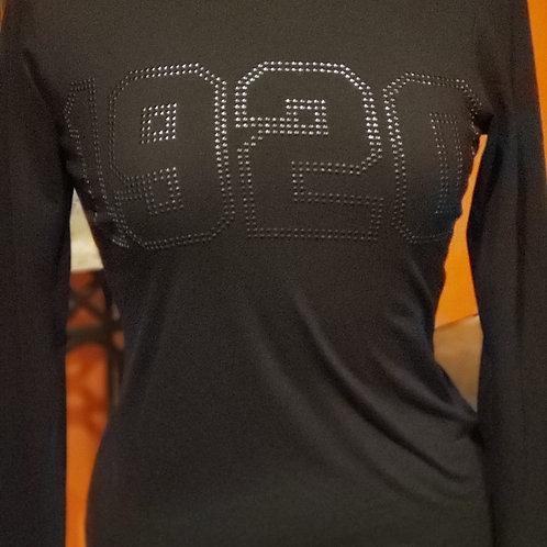 Noir(Black) 1920 Outlined Nailhead Long Sleeve Tee and Short Sleeve S-3xl