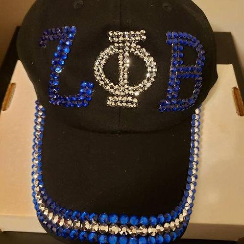 Zeta Phi Beta Rhinestone Black Adjustable Baseball Cap