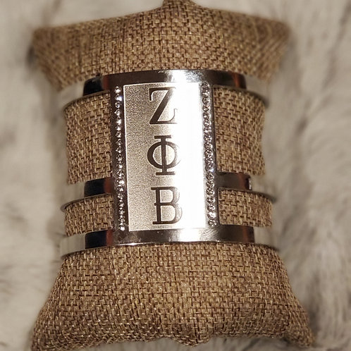 ΖΦΒ Principle Cuff Bracelet - Polished Stainless Steel w/ Rhinestones