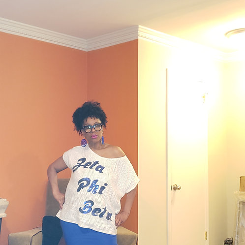 White Sequin Zeta Phi Beta Top - S/M and L/XL