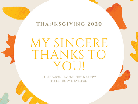 Wishing you some time to reflect on what you are Thankful for…