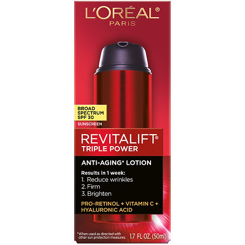 L'Oreal Paris Revitalift Triple Power Broad Spectrum SPF 30 Sunscreen, 1.7 oz