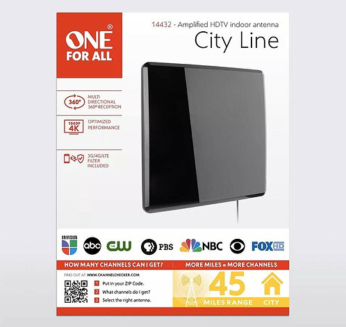 One For All Amplified Indoor Flat HDTV Antenna - Supports 4K 1080p