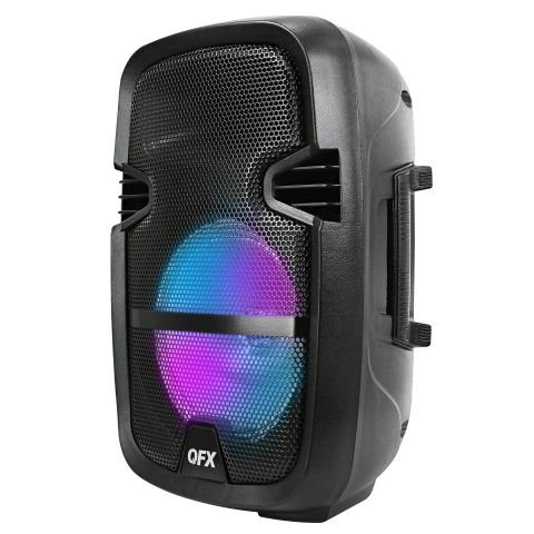 QFX 8-in Portable Party Bluetooth PA Loudspeaker with Microphone & Remote