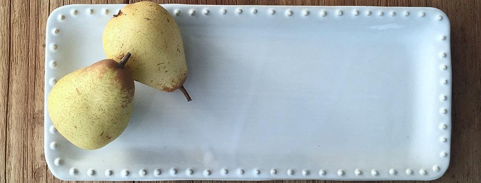 Long Cake Plate white dots
