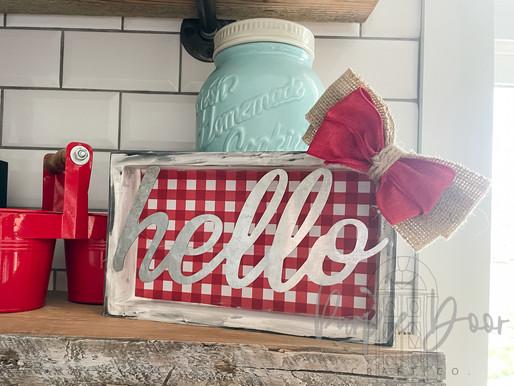 A Cute DIY Red Farmhouse Hello Sign