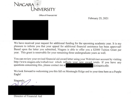 Case Study - Appeal Awards Extra $2k Per Semester for Niagara University Student